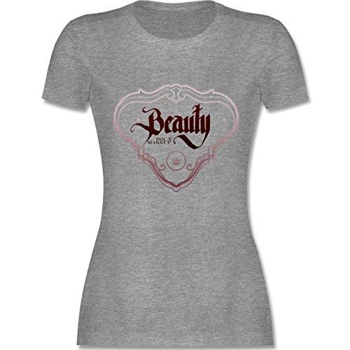 Statement Shirts - Beauty isn´t Makeup - tailliertes Premium T-Shirt mit Rundhalsausschnitt für Damen Grau Meliert