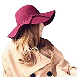 Retro Wool Felt Hats with Wide Brim for Ladies Women (Wine Red)