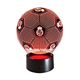 3D Espejismo Efecto LED Luz De Noche Fútbol Real Madrid Forma Lámpara De Mesa 7 Cambio De Color para La Decoración del Sitio del Bebé De Los Niños,Touch
