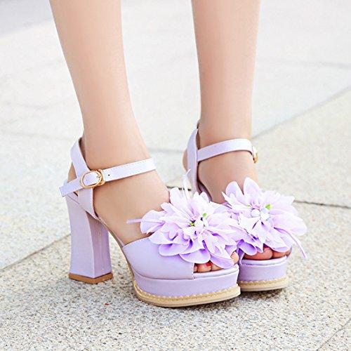 YE Damen High Heels Sandaletten Plateau mit Blockabsatz und Riemchen Blumen 10cm Absatz Pumps Schuhe Lila