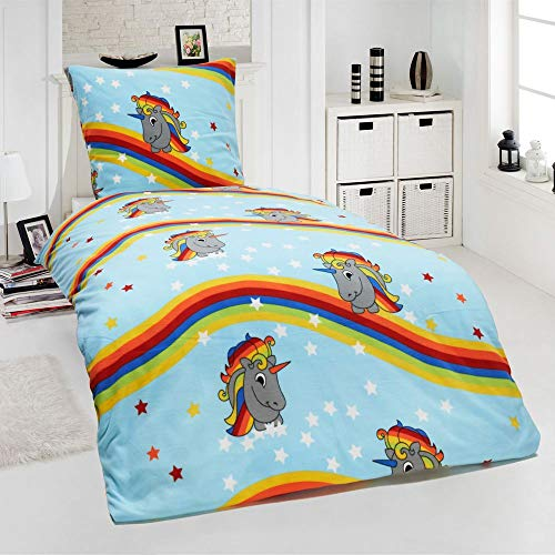Dreamhome24 2 TLG Kinder Warme Kuschel Fleece Bettwäsche Einhorn Feuerwehrmann Pferd Pingin 135×200 80×80