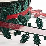 Italian Options Holly Leaves Christmas Ribbon 35mm x 15m