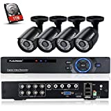 FLOUREON 8CH 1080N AHD CCTV DVR Recorder with 4x 1500TVL 720P 1.0MP Night Vision Security Cameras Kit (1TB HDD, P2P Cloud Remote Access, Smartphone