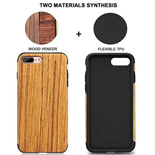 TENDLIN Coque iPhone 7 Plus Bois et Souple TPU Silicone Hybrid Slim Housse Etui pour iPhone 7 Plus et iPhone 8 Plus (Nordic Noyer) Santos Rosewood