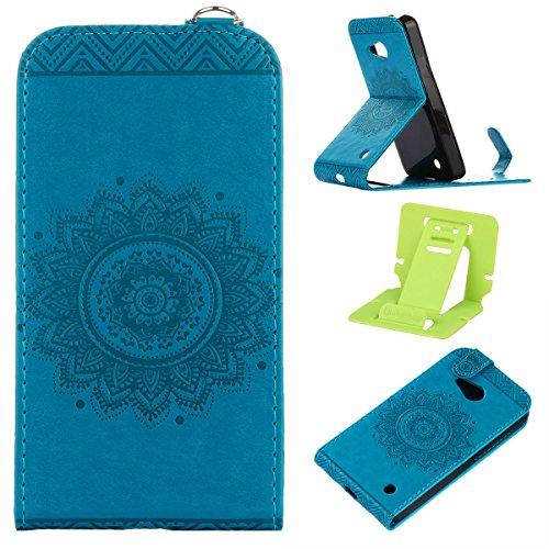 Étui en cuir PU pour Microsoft Lumia 550 / Nokia N550,Vertical Pliable Rabat Shell pour Microsoft Lumia 550,Nokia N550 Flip Cover,Ekakashop Etui avec Motif de Noir Mandala Retro Tendance Style Portabl Bleu