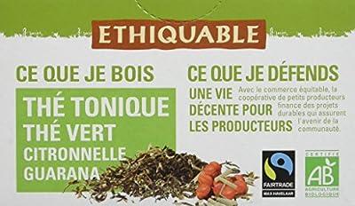Ethiquable Thé Tonique Guarana Ceylan Bio et Équitable 20 Sachets Max Havelaar - Lot de 4