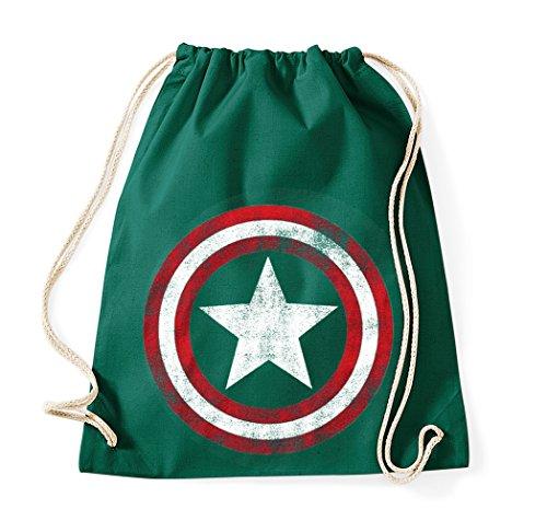 TRVPPY Baumwoll Turnbeutel / Modell Vintage Captain America / Beutel Rucksack Jutebeutel Sportbeutel Tasche Fashion Hipster / Farbe Flaschengrün