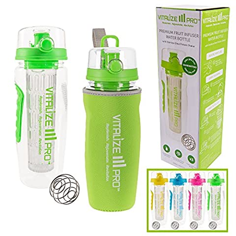 Fruit Infuser Water Bottle with Extra-Long Infuser for Maximum Flavour. 950ml No-Leak BPA-Free Sports Bottle, Condensation-Free Sleeve & Protein Shaker Included, BONUS Recipe eBook & Hydration Guide