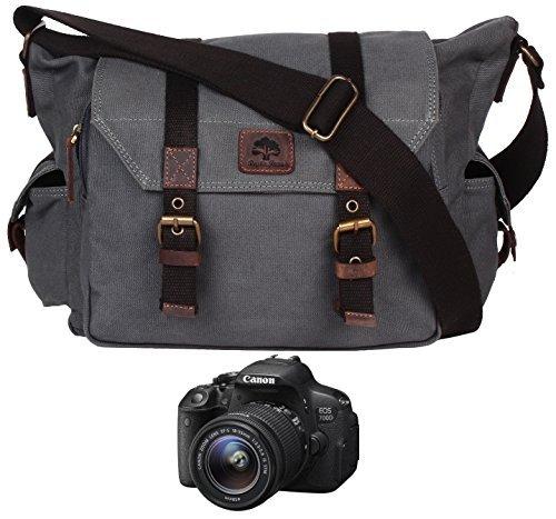 Burgund Leinwand (Rustikal Town Herren Canvas Leder DSLR SLR Vintage Kameratasche Messenger Bag Geschenk für Ihm Ihre grau dunkelgrau Medium)