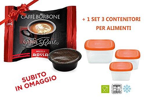 400 Capsule Compatibil Lavazza a Modo Mio Caffe' Borbone Don Carlo Miscela Rossa + OMAGGIO SET 3 CONTENITORI PER ALIMENTI PER CONGELATORE