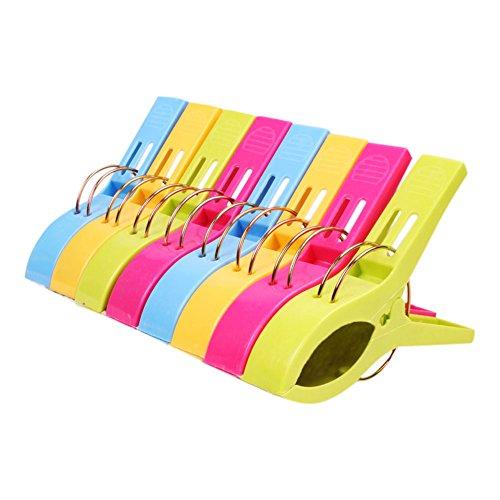 BoodTag Hängen CLip Halter Wäscheklammern 8 Stück Handtuchklammer Strandtuchklammer Plastik 4 Farben Clips Groß Kleider Trocknen Klammer (A)