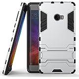 Funda para Xiaomi Mi Note 2 (5,7 Pulgadas) 2 en 1 Híbrida Rugged Armor Case Choque Absorción Protección Dual Layer Bumper Carcasa con pata de Cabra (Plateado)