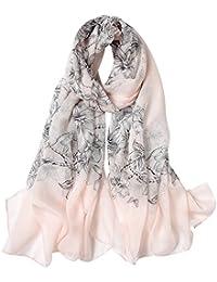 e9a8859a398 STORY OF SHANGHAI Femme Foulard 100% Soie Imprime Floral Coloré Grande  Echarpe Châle Ultra-