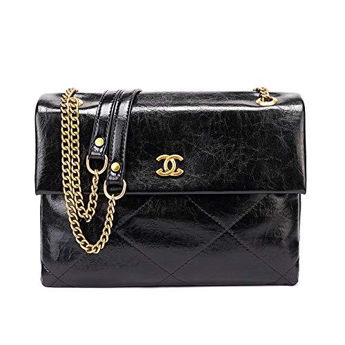 YZJLQML Lady bagsLeather Handtaschen Leder kleine quadratische Tasche Plaid einzelner Schultergurt Diagonale Cross Bag einfache Handtasche @Black -