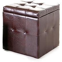 Puff con arcón en color chocolate (39x39x43 cm) polipiel