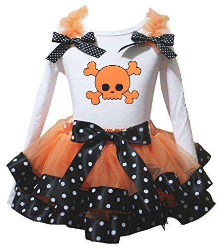 weiß L/S SHIRT Punkte schwarz orange Blütenblatt Rock nb-8y Gr. Größe L, Orange (Knochen Tank Kleid)