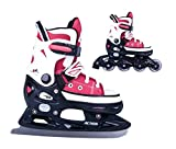 2in1 Schlittschuhe Inliner Gondo ABEC5 rot schwarz Gr. 33-36, 37-40, 40-43 verstellbare Skates (40-43)