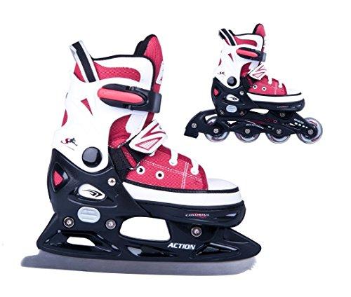 2in1 Schlittschuhe Inliner Gondo ABEC5 rot schwarz Gr. 29-32, 33-36, 37-40, 40-43 verstellbare Skates