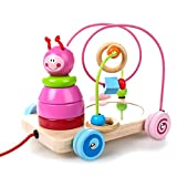 4 in 1 hölzernes pädagogisches Spielzeug, Perlen Maze + Pull & Push Spielzeugautos + Sortierung & Stapeln Baby Spielzeug + Spiegel, Geburtstag Geschenk Spielzeug für 3 Jahre 5 Jahre alt