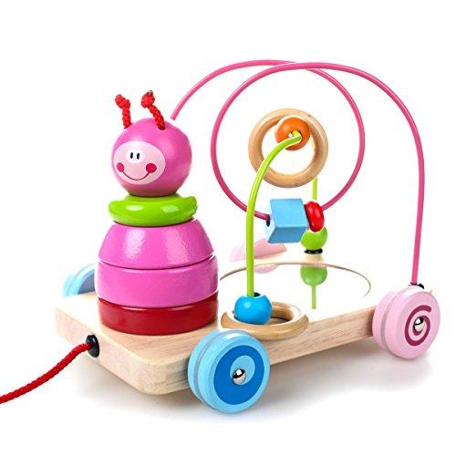 (4 in 1 hölzernes pädagogisches Spielzeug, Perlen Maze + Pull & Push Spielzeugautos + Sortierung & Stapeln Baby Spielzeug + Spiegel, Geburtstag Geschenk Spielzeug für 3 Jahre 5 Jahre alt)