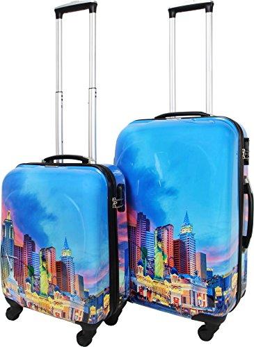 ABS Hartschalen Kofferset mit Leichtlaufrollen verschiedenen Motiven Las Vegas City