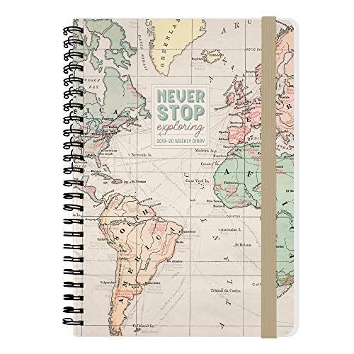 Large weekly diary spiral bound 16 mesi 2019/2020 - map