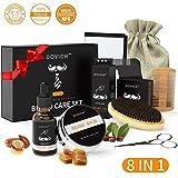 Kit de Soins de Barbe 8 pcs,Brosse en Soies Poils de Sanglier Naturel, Peigne, Huile a barbe,...