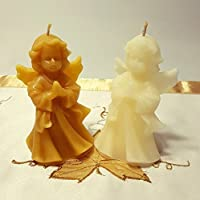 Handgemachte Honig Kerze aus 100% Bienenwachs Motiv - Engel, Engelkerzen, Weinachtskerze Baumkerze, Bienenwachskerzen, Geschenkidee Bees wax Candels Beeswax