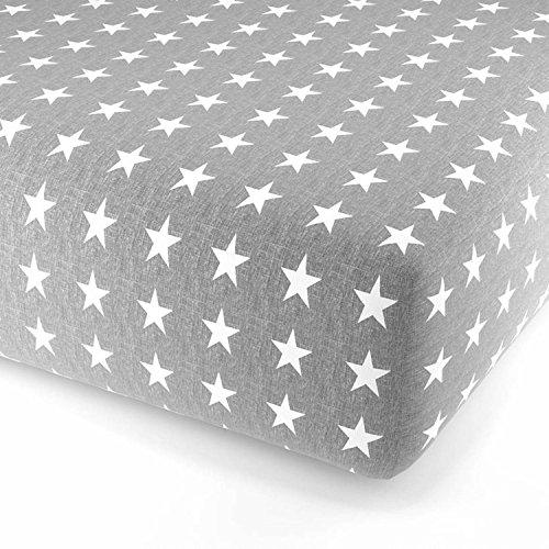 F2F Stars Sterne Flanell Spannlaken Bettlaken Spannbetttuch I Größe  90 x 200 cm I Farbe Grau-Weiss  I kuscheliges Baumwolle Flanell