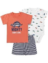 6451789c35227 Bébé T-Shirt Body Shorts Lot de 3 Garçon Pyjama Manche Courte Grenouillères  Coton Tops