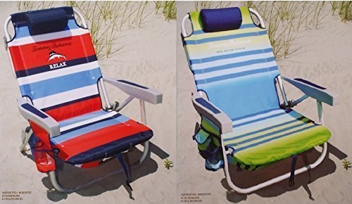 2-tommy-bahama-2015-backpack-cooler-chairs-with-storage-pouch-and-towel-bar-1-red-striped-and-1-gree