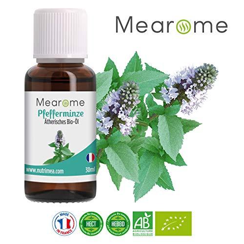 Pfefferminzöl BIO ätherisches Öl 100% Naturrein zum Verzehr + gegen Kopfschmerzen + Migräne - Zertifiziertes BIO-Produkt - Duft-Öl Pfefferminze 30ml, Aroma für Diffuser, Aromatherapie