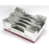 Kunststoff 16/cm Thali Outlet/® 50/x Sabert Mozaik silber L/öffel metallised Wiederverwendbare Einweg-Besteck