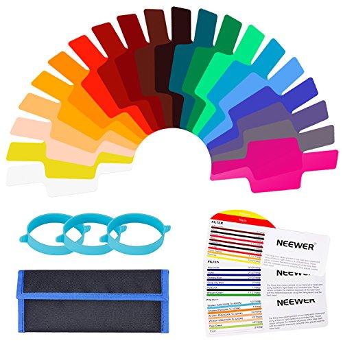Neewer 20 Stücke Kamerablitz Gel Beleuchtungsfilter Transparent Farbkorrektur Filterset mit 3 Stücke Befestigungsband und Aufbewahrungsbeutel für Fotostudio Blitz Gel Filter Kit