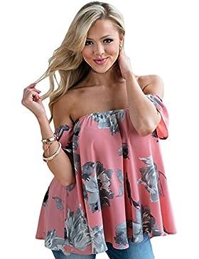 Camiseta de tirantes para hombro con diseño floral y rosa, para fiestas, estilo informal, talla S, color rosa
