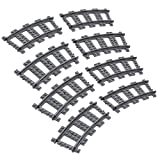 Feleph Vías Curvas Vías de Carril No Motorizadas Juegos de Bloque de Construcción Compatibles con Todas Las Marcas Principales para Tren (8 Pcs)