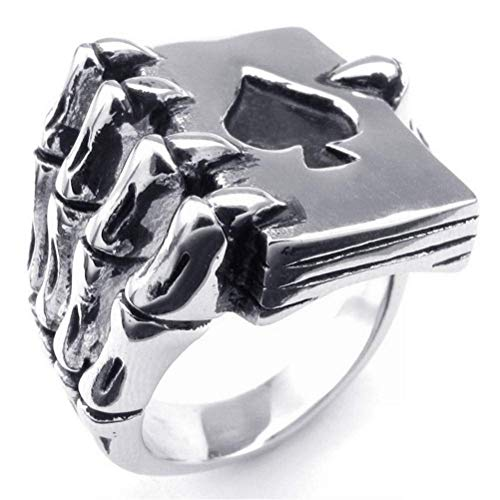 AZWE Männlicher Ring Glücksspiel Gottes Handknochenring, Silber, 10# - Glücksspiel-ring