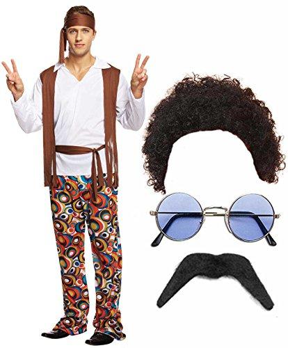 Hippie Hippie Man 60er 70er Jahre Kostüm Outfit mit Kostüm Perücke, Bart, Brille &