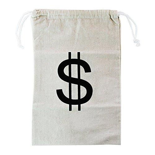 TianranRT Groß Leinwand Geld Tasche Beutel mit Kordelzug Schließung und Dollar Zeichen Design