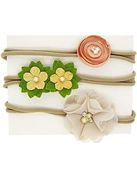 Kanggest 3Pcs Venda Elástico del Bebé de Flor y perla para Decoración Fesitive de la Fiesta Cumpleaños del Bebé...