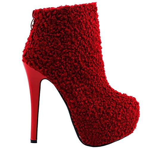 Show Story Damen stilvolle verstecktes Plateau Stiletto Bootie Stiefeletten, LF80856 Rot