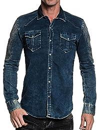 BLZ jeans - Chemise en jean homme street bleu délavé vieillit