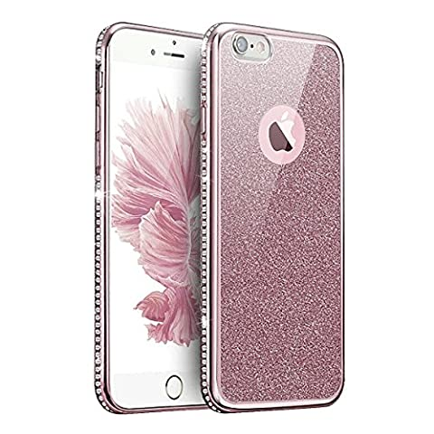Coque Housse Etui pour iPhone 7/iPhone 8, iPhone 7 Or Rose Coque en Silicone Placage Coque Clair Ultra-Mince Etui Housse Glitter Paillette,iPhone 7 Silicone Case Rose Gold Slim Soft Gel Cover with Diamond, Ukayfe Etui de Protection Cas en caoutchouc en Ultra Slim Souple Cristal Clair Gel TPU Bumper Bling Diamant Strass Brilliant Coque Cas Case Cover Coque Couverture Etui pour Apple iPhone 7/iPhone 8 + 1 X Stylet