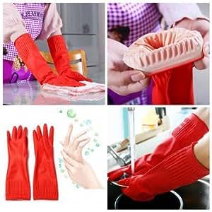 Waterproof Lengthen Latex Dishwashing Cleaning Gloves 38CM Antiskid -