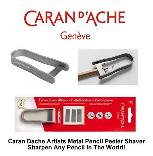 Caran D'Ache Künstler-Bleistiftspitzer, Universal-Anspitzer & 3Ersatzklingen (Silber) -