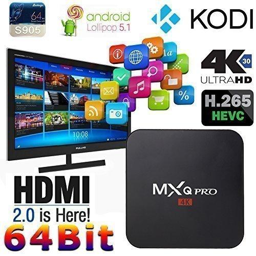 Develop MXQ Pro Android TV Box Amlogic S905 Quad Core Arm Cortex A53 CPU 2.0 GHz XBMC Kodi Full Loaded Media Player Android 5.1 Kitkat 4K 1GB/8GB avec WiFi