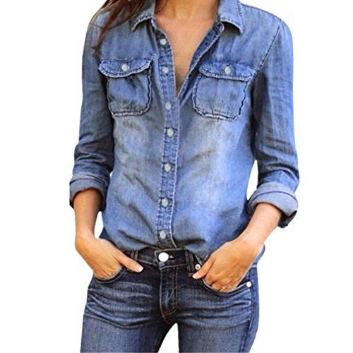 BHYDRY Arbeiten Sie Womens Casual Blue Jean Denim Langarm Shirt Tops Bluse ()