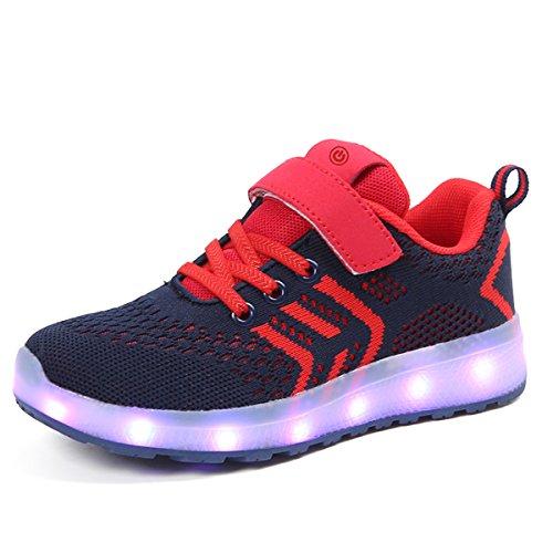 bevoker LED Sportschuhe für Kinder USB Aufladen Blinkschuhe Mädchen Jungen Sneakers