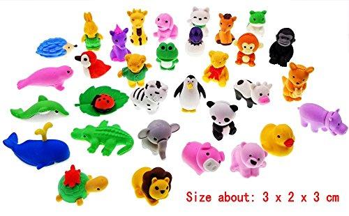 JZK 32 Desmontable poco goma juguete animal mini animal lápiz de goma conjunto de borrador para los favores de partido de los niños fiesta de cumpleaños rellenos de bolsa regalo de cumpleaños regalo de Navidad