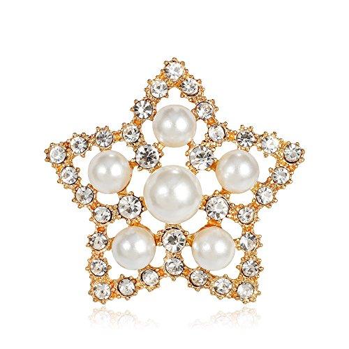 Ecloud Shop® Broche en forme d'étoile brillante simulé perle strass broche pour les femmes décoration